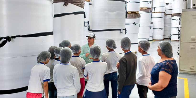 Visita dos estudantes à planta industrial da Meiwa